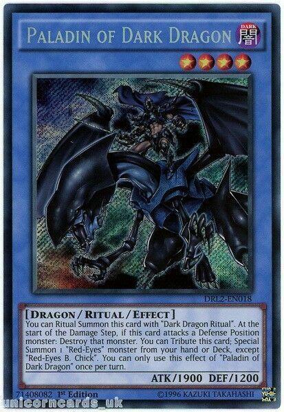 NM Yu-Gi-Oh Secret Rare Paladin Of Dark Dragon 1st Edition DRL2-EN018