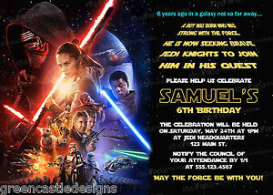 20-Star-Wars-The-Force-Awakens-Birthday-Party-Invitations-Printed-Envelopes-D10