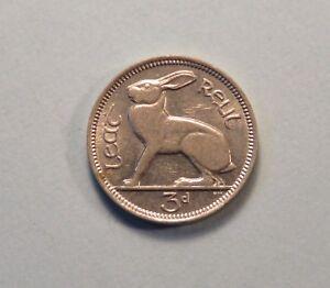 Irish 1968 Three Pence Coin Ireland Rabbit Harp Eire Superb High Grade Authentic