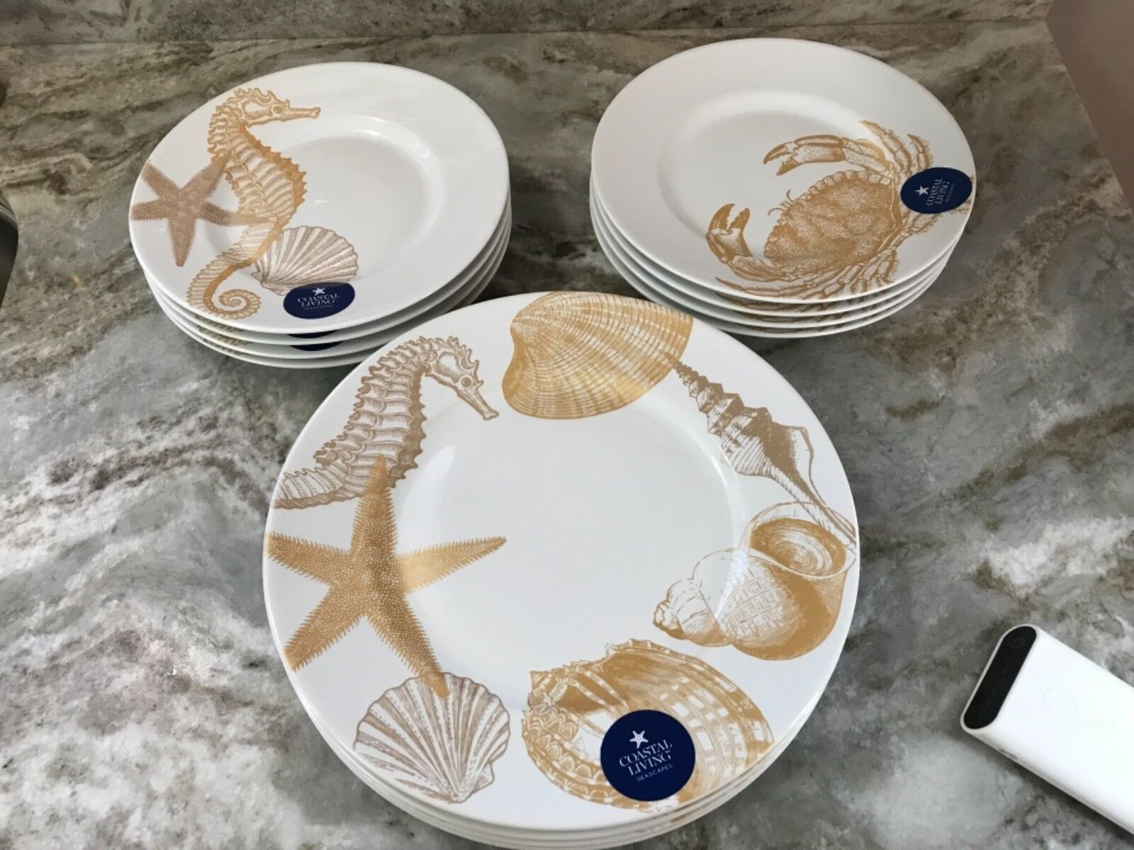 Gold Coastal Living Seascapes Dinner Or Salad Plates. Your Choice. Porcelain New