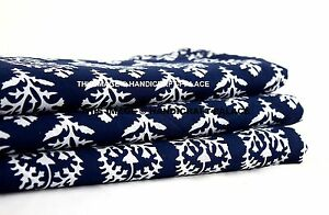44-Wide-Indian-Cotton-Fabric-Blue-Floral-Dressmaking-Craft-Supplies-By-1-Metre