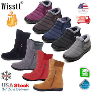 Womens-Winter-Warm-Ankle-Boots-Ladies-Fur-Snow-Buckle-Flats-Suede-Shoes-Booties