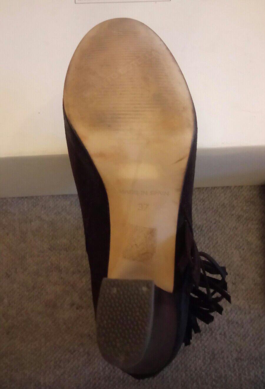 Roberto Botella Ankle-Stiefel Stiefeletten Wildleder Gr.37 dunkelbraun mit Fransen Fransen Fransen defa26