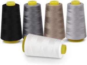 100/% Poliéster Sobreorillado Hilo de máquina de coser para remalladora 5 Colores 3000 yarda