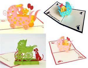 3D-Pop-Up-Card-New-Baby-Cards-Carriage-Pram-Boy-Girl-Ships-from-USA-Fast-Free