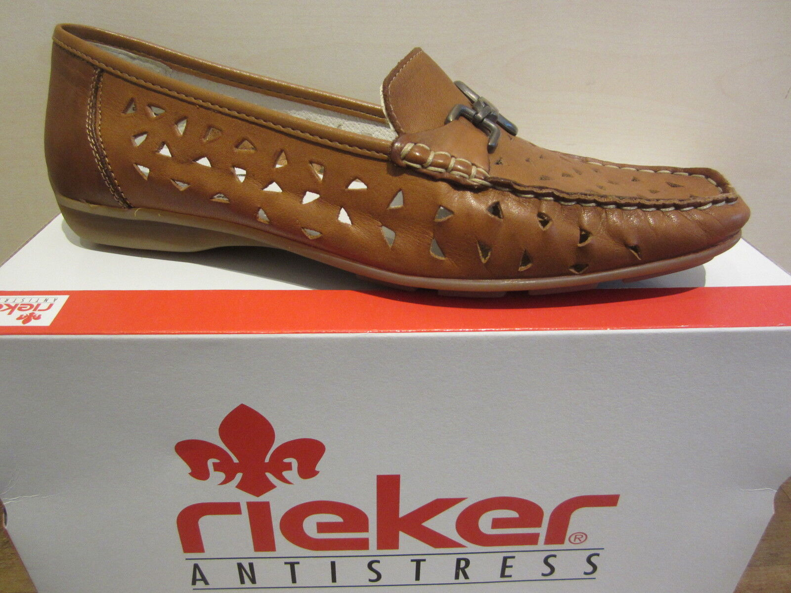RIEKER Slipper interna, Pelle in Pelle con suola interna, Slipper Marrone NUOVO 2b43e4