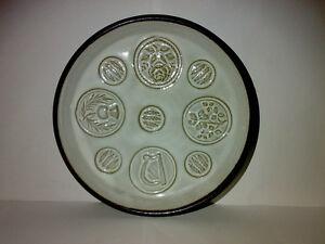 Wandteller-Wall-Plate-Irland-Eire-Ireland-Keramik-Pottery-Motiv-Harfe-Ahre-u-a