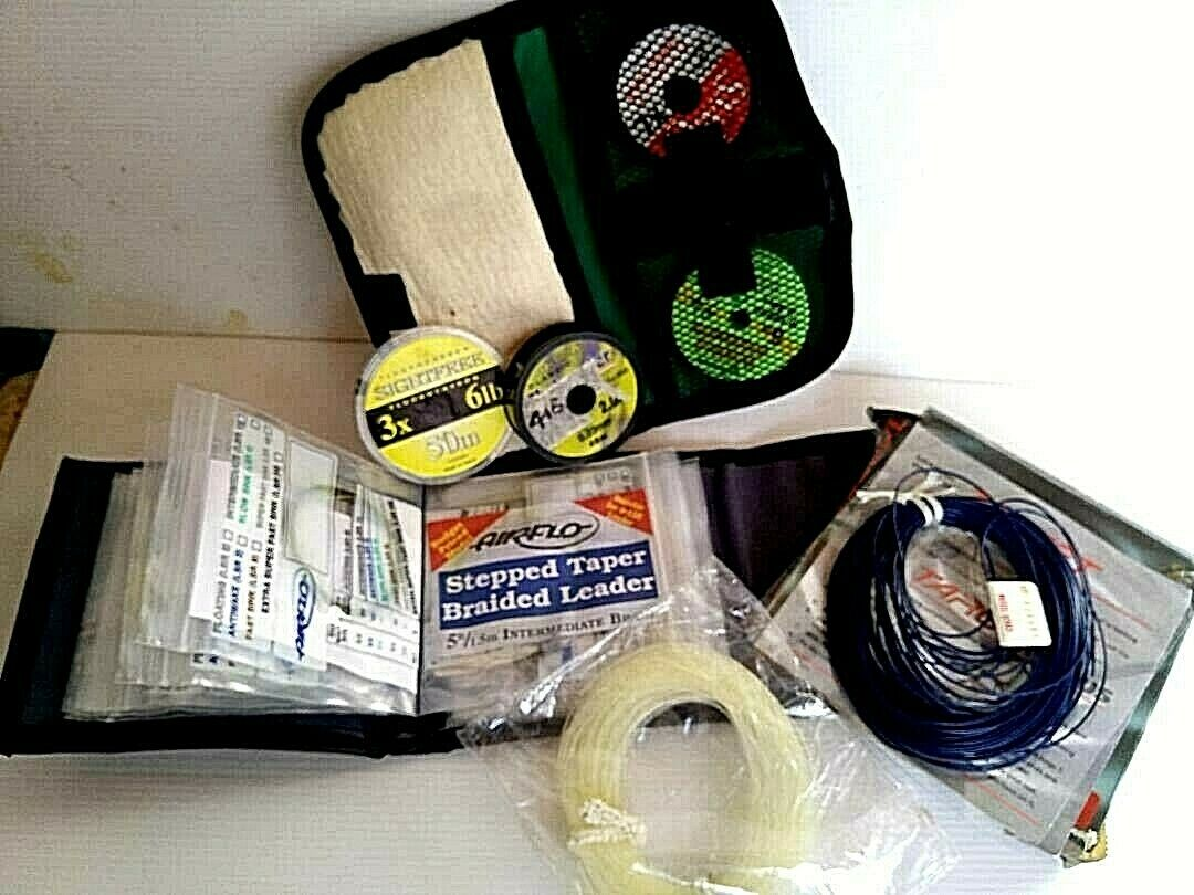 Fly fishing selection of Airflo braided leaders, tippet leaders lines in wallet.