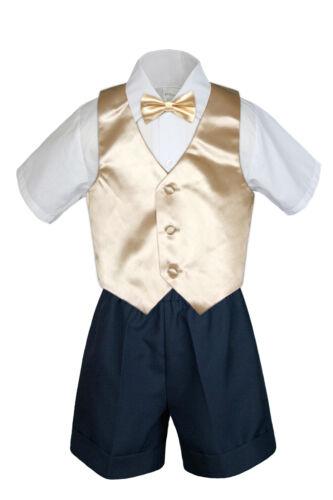 4pc Baby Boys Toddler Formal Champagne Vest Bow tie Navy Khaki Shorts Set Sm-4T