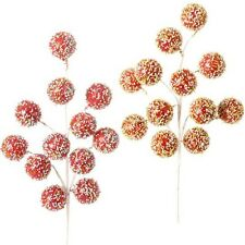 Beaded Candy Ball Christmas Floral Spray S/2 18 in cm F3311946 NEW RAZ 2013