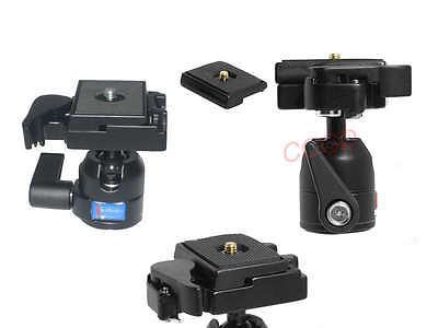Tripod Ball Head Ballhead + Quick Release Plate Camera Monopod Canon Nikon SLR