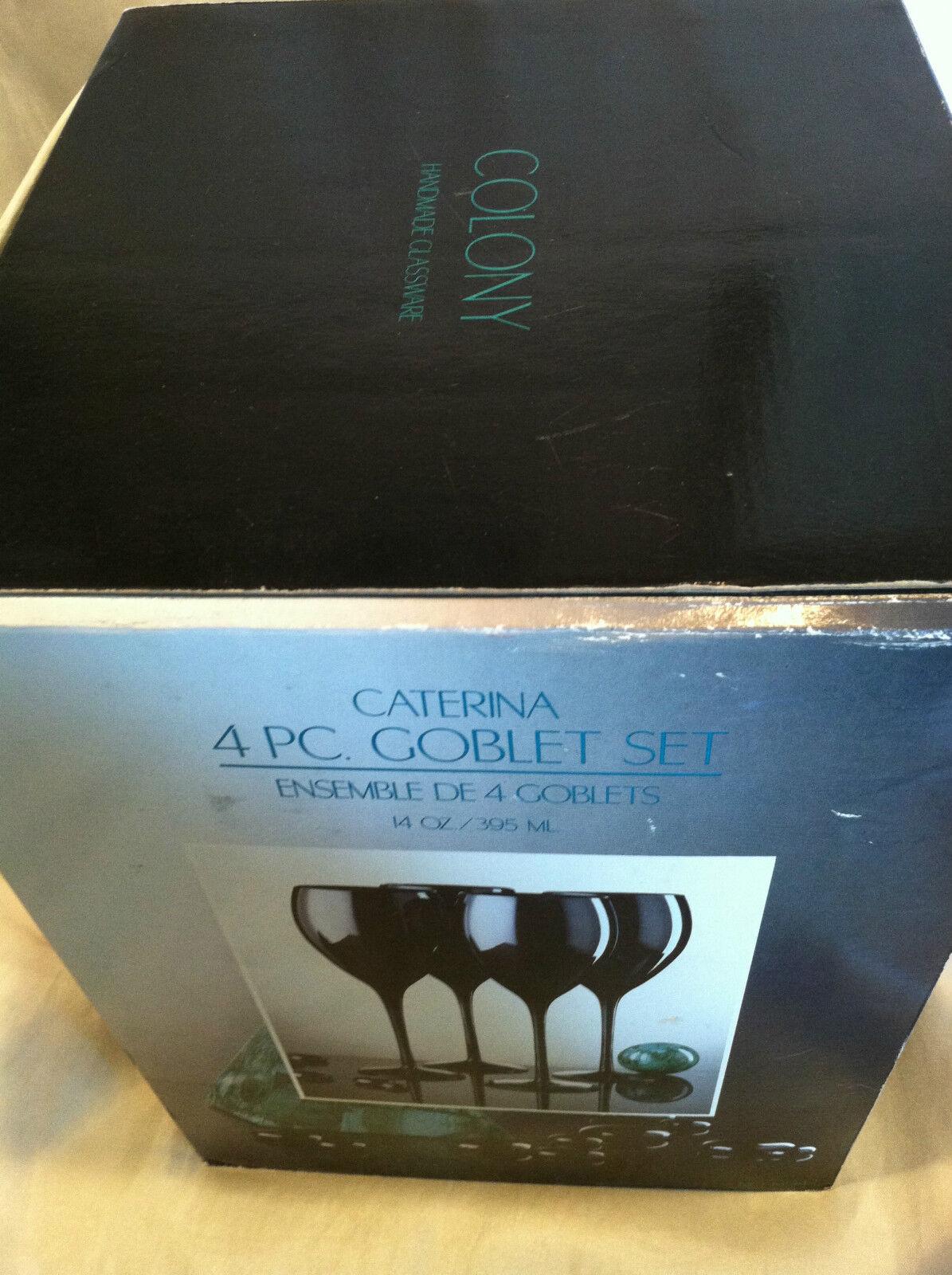 RARE 4 PC SET COLONY HANDMADE CATERINA GOBLET SET 14OZ WINE GLASSES-NEW+BOX