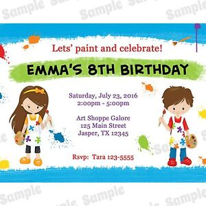 Image Is Loading 20 Personalized Birthday Invitations Art Party Painting