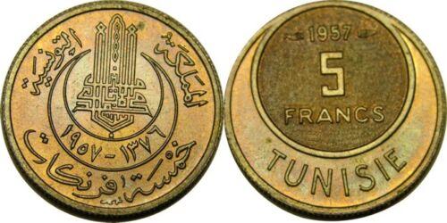 elf Tunisia Kingdom 5 Francs AH 1376  AD 1957
