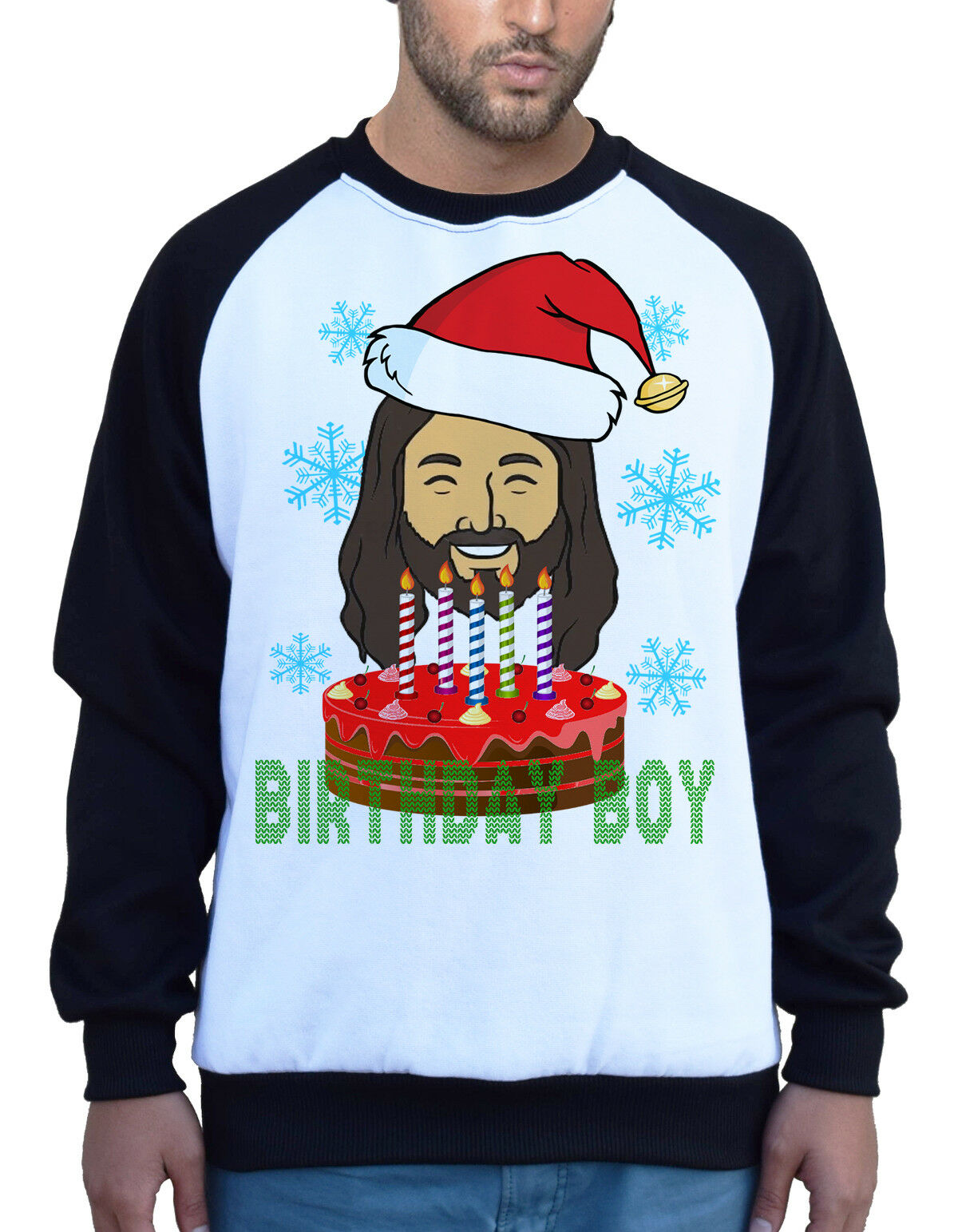 Men/'s Jesus Birthday Boy  White Raglan Sweatshirt Ugly Sweater Santa Claus B1153