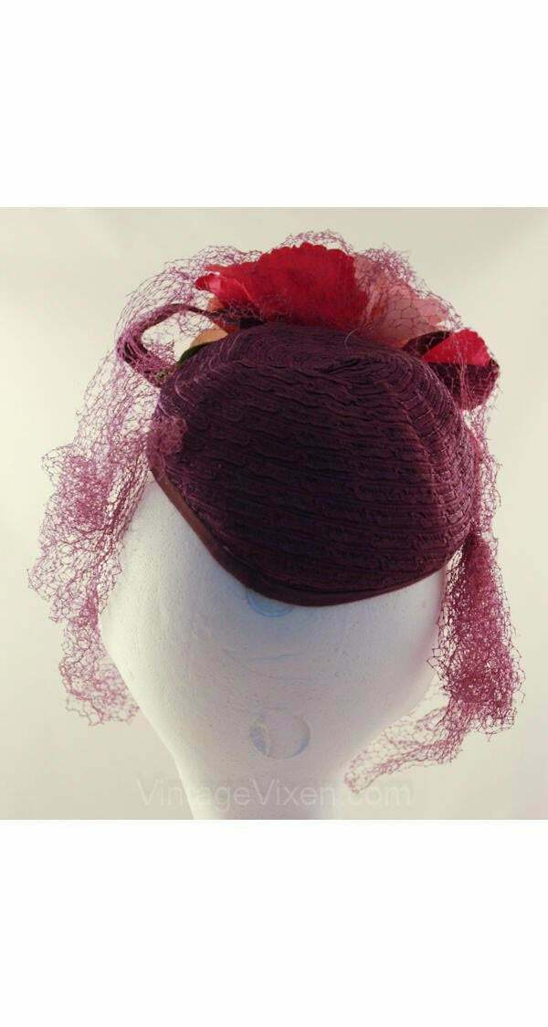 40s Hat - Wonderful 1940s Purple Veiled Millinery… - image 3