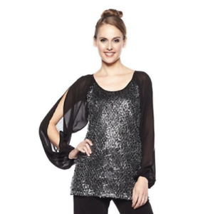 American Glamour Badgley Mischka Women's sz L Sequins Tunic Cold Shoulder Blouse