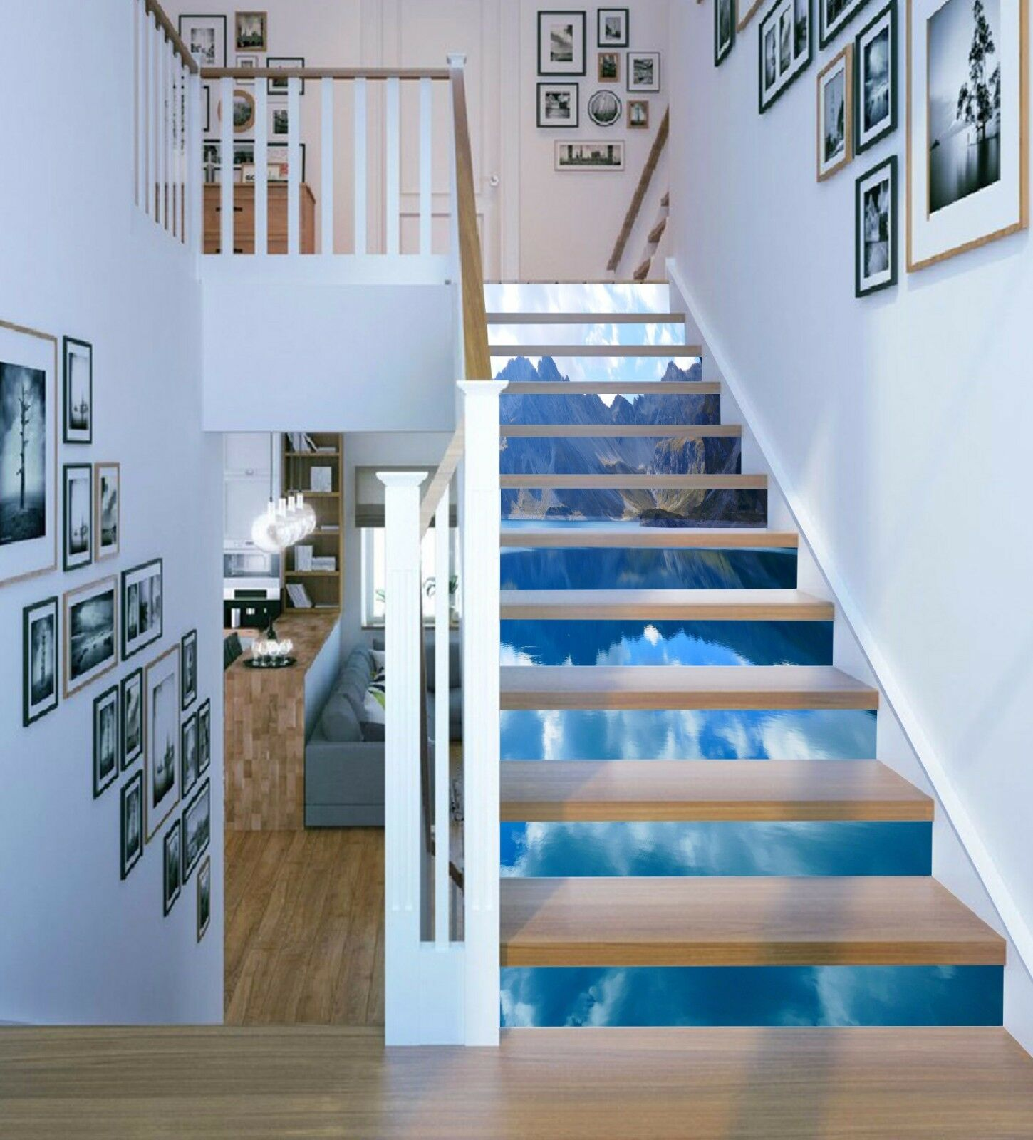3D 3D 3D Sky Lake 7 Stair Risers Decoration Photo Mural Vinyl Decal Wallpaper UK a8a6b4