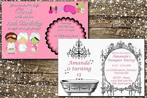 Image Is Loading Printable Invite Personalised PAMPER SLUMBER SPA PARTY Invitation