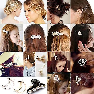 32 Styles Diamante Crystal Rhinestone Flower Barrette Hair Clip Clamp Hairpin NE