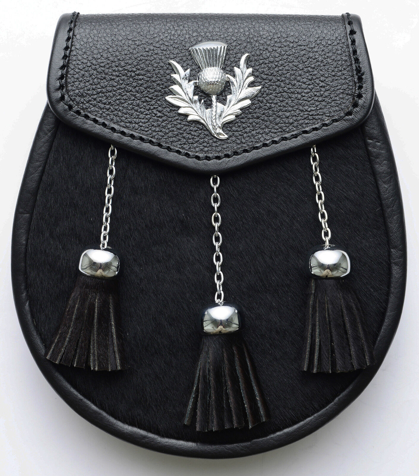 Black Calf skin Thistle Leather Sporran Tradtional Scottish Wallet Kilts