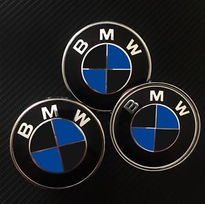 Matte Black Blue Overlays Decals To Bmw Emblems Badge Hood Trunk Rims Wheels Ebay
