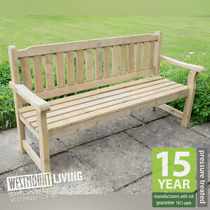 new 5ft pressure treated wooden garden bench seat ebay rh ebay co uk garden bench seat height garden bench seat covers