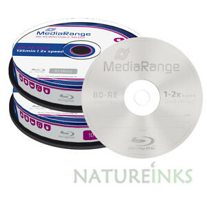 20-MediaRange-Regrabable-Bluray-BD-re-bdre-25-GB-2x-Discos-en-Blanco-MR501-Eje