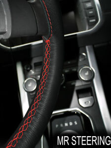 BLACK LEATHER STEERING WHEEL COVER FOR VOLVO TRUCK VNL730 DOUBLE RED STIT