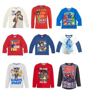 Ragazzi-Bambini-Disney-con-licenza-ufficiale-vari-a-maniche-lunghe-T-Shirt-Top-2-10