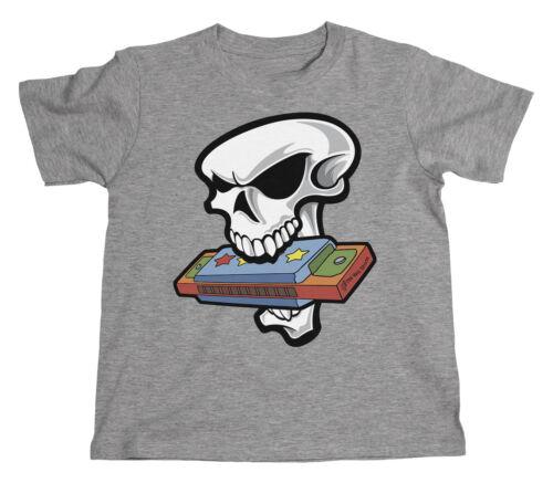 Kids SKULL HARP Mouth Organ Instrument Novelty Unisex Music T-Shirt