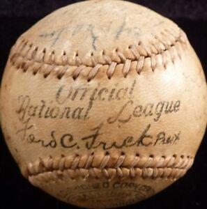 BECKETT 1937 NL ALL-STAR TEAM SIGNED FRICK BASEBALL GABBY HARTNETT-MEL OTT +14
