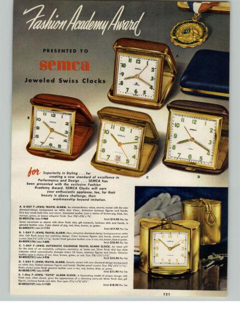 1954 PAPER AD 4 PG Semca Swiss Clocks Cutie Travel 15