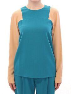 EU38 NWT $500 COTE Blue Beige Long Sleeves Crew-neck Sweater IT42 US8 M