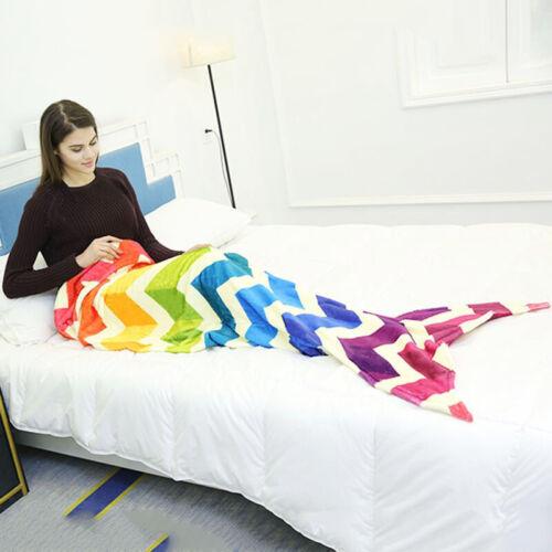 Details about  /160 cm Mermaid Tail Blanket Soft Warm Flannel Fleece Rainbow Quilt Wrap Rug