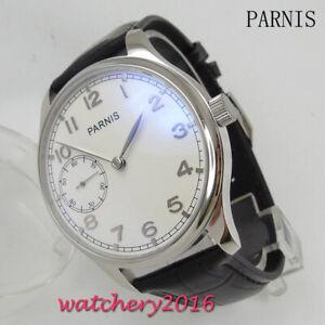44mm-PARNIS-Weiss-dial-Armbanduhren-6497-Handaufzug-Mechanisch-men-039-s-Wristwatch