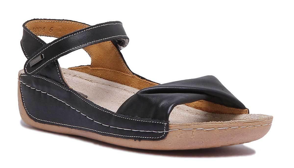 Justin Reece Womens Black Leather Flatform Sandal Black Size UK 3 - 8