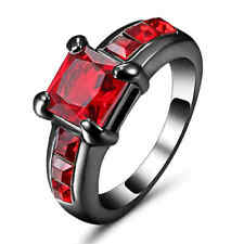 Vintage Square Red Ruby Wedding Band Ring Women's Black Rhodium Plated Size 8