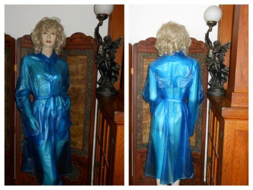 L/XL Shiny Clear Blue pvc vinyl Raincoat Long Tren