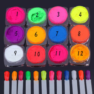 12-Boxes-Neon-Pigment-Nail-Powder-Dust-Glitter-Iridescent-Acrylic-Colorful