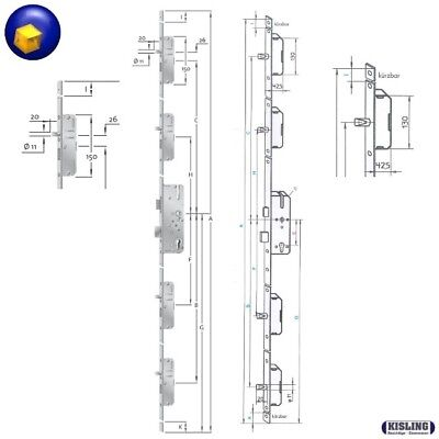 Kfv As 2300 Verrouillage Multipoint Serrure de Porte Maison 65 Mandrin 92PZ