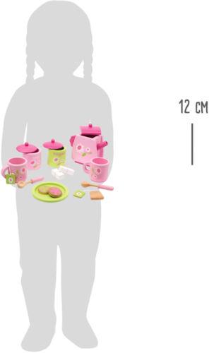 Kinder Teeservice Blümchen Rosa Holz Geschirr Set 17 tlg Tee-Service