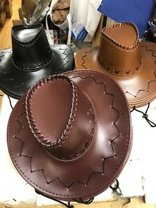 1d6215aab14 12 Cowboy Hat Wholesale Faux Leather Brown black Adult Mens Ladies ...