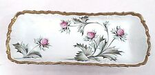 Antique Limoges France Flambeau Purple Thistle Clover Dish Artist Signed Gilbert