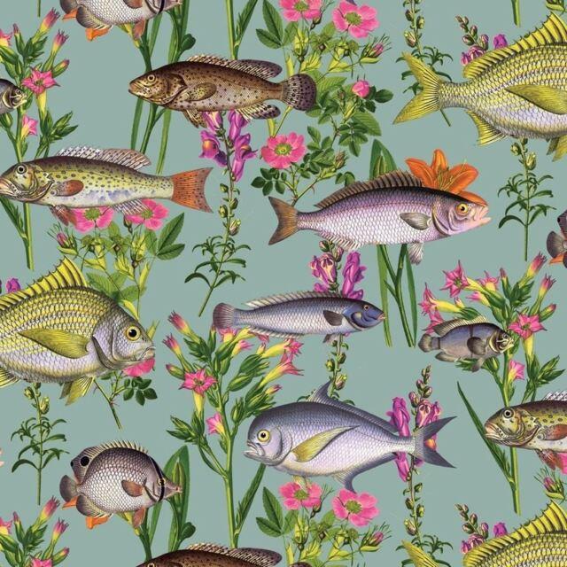 LAGOON FISH WALLPAPER - TEAL 12171 HOLDEN - NEW