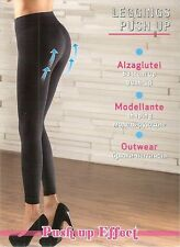 Leggins push up alza glutei nero modellante microfibra coprente outwear