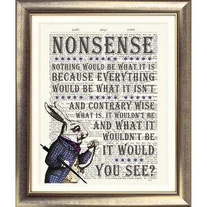 ART-PRINT-ORIGINAL-ANTIQUE-BOOK-PAGE-White-Rabbit-DICTIONARY-Alice-in-Wonderland