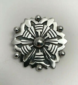 Vintage-Taxco-Mexico-Sterling-Silver-Geometric-Tribal-Brooch