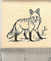 Fox Rubber Stamp E9205 Wood Mounted Wildlife