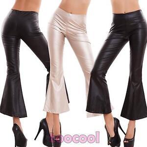 b784d683cf003 Pantalones de Mujer Campana Pata Elefante Ecopiel Elástico Capri ...
